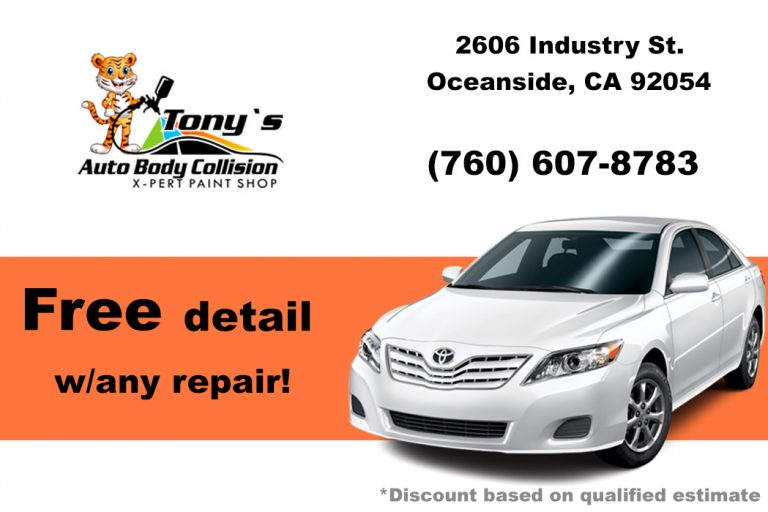 free detail with any repair coupon